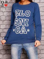 Ciemnoniebieska bluza z napisem ZŁOŚNICA