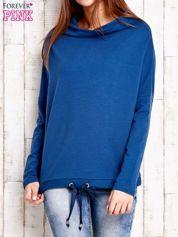 Ciemnoniebieska bluzka oversize z troczkami