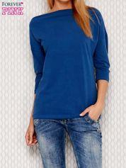 Ciemnoniebieska bluzka z dekoltem wodą