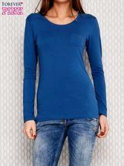Ciemnoniebieska bluzka ze sznurowaniem na ramionach