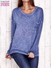 Ciemnoniebieska dekatyzowana bluzka z koronkowymi wstawkami