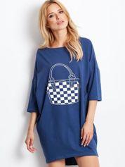 Ciemnoniebieska luźna dresowa sukienka