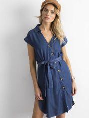 Ciemnoniebieska sukienka szmizjerka