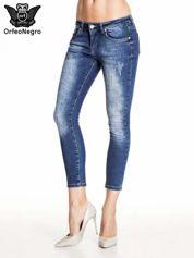 Ciemnoniebieskie gniecione spodnie skinny jeans