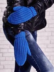 Ciemnoniebieskie proste rękawiczki na jeden palec z grubej wełny