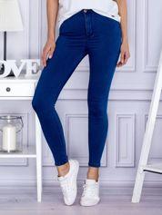 Ciemnoniebieskie spodnie rurki high waist