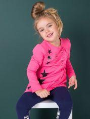 Ciemnoróżowa asymetryczna tunika dziewczęca z gwiazdkami