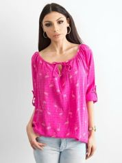 Ciemnoróżowa bluzka z nadrukiem flamingów i podwijanymi rękawami
