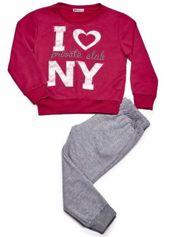Ciemnoróżowy komplet dla dziewczynki bluza i spodnie