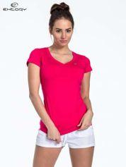 Ciemnoróżowy t-shirt sportowy termoaktywny z dekoltem V