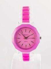Ciemnoróżowy zegarek damski