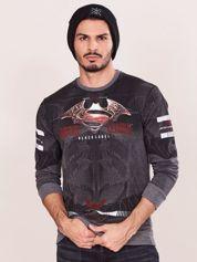 Ciemnoszara bluza dresowa dla mężczyzny z nadrukiem
