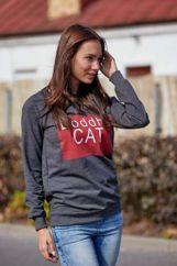 Ciemnoszara bluza z napisem BODDHA CAT