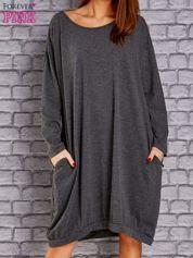 Ciemnoszara dresowa sukienka oversize z kieszeniami
