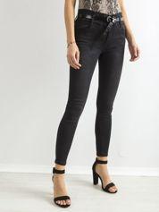 Ciemnoszare jeansy rurki z wysokim stanem
