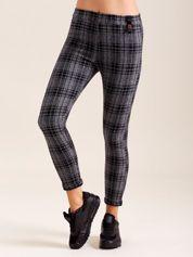Ciemnoszare spodnie damskie w kratkę