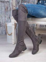 Ciemnoszare zamszowe kozaki za kolana wiązane na sznurek nad kolanem