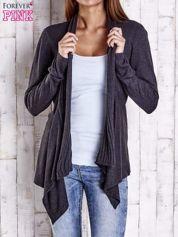 Ciemnoszary długi sweter z wykończeniem w prążki
