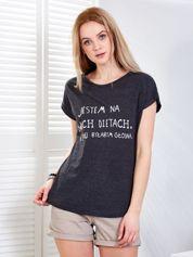 Ciemnoszary t-shirt JESTEM NA DWÓCH DIETACH
