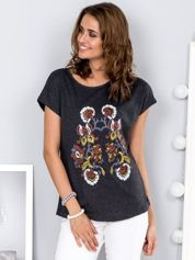 Ciemnoszary t-shirt z roślinnym wzorem