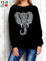 Czarna bluza z nadrukiem słonia