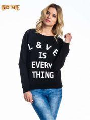 Czarna klasyczna damska bluza z napisem LOVE IS EVERYTHING