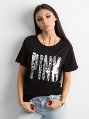 Czarna koszulka z cekinowym napisem
