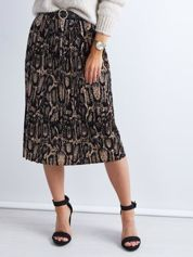 Czarna plisowana spódnica midi z motywem zwierzęcym