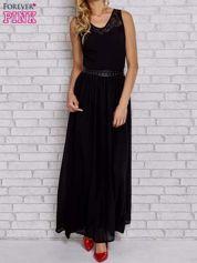 Czarna sukienka maxi ze skórzanym pasem a'la ćwieki