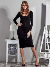 Czarna sukienka z listwą guzikową