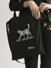 Czarna torba bawełniana z nadrukiem kota