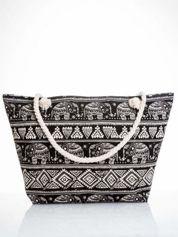 Czarna torba plażowa w indyjskie wzory
