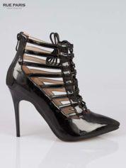 Czarne lakierowane botki lace up