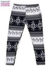 Czarne legginsy dziewczęce w norweskie wzorki