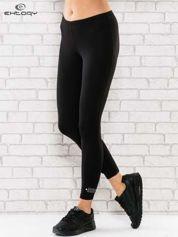 Czarne legginsy sportowe termalne z patką z dżetów