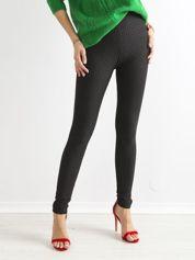 Czarne legginsy z fakturą z przodu