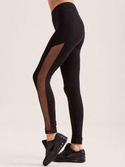 Czarne legginsy z siateczkowymi modułami
