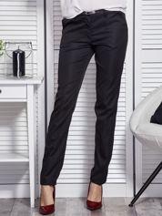 Czarne materiałowe spodnie damskie z paskiem