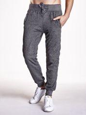 Czarne melanżowe spodnie męskie z trokami i kieszeniami
