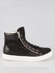 Czarne płaskie sneakersy damskie z kryształkami