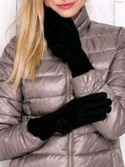 Czarne rękawiczki z kokardką i długim ściągaczem