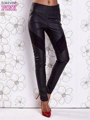 Czarne skórzane legginsy z zamszowymi wstawkami