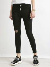 Czarne spodnie damskie z wysokim stanem