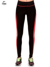 Czarne termoaktywne legginsy do biegania z fluoróżowymi lampasami ♦ Performance RUN