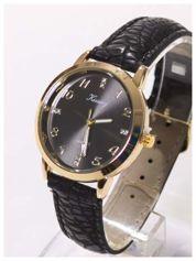 Czarno-złoty damski zegarek z cyrkoniami na tarczy