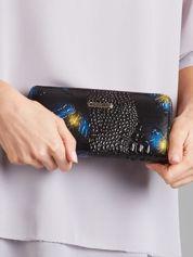 Czarny damski portfel w motyle