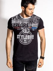 Czarny t-shirt męski z okrągłym nadrukiem
