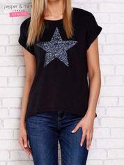 Czarny t-shirt z cekinową gwiazdą