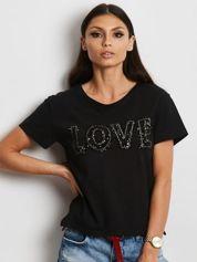Czarny t-shirt z cekinowym napisem LOVE