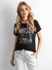 Czarny t-shirt z nadrukiem i koralikami